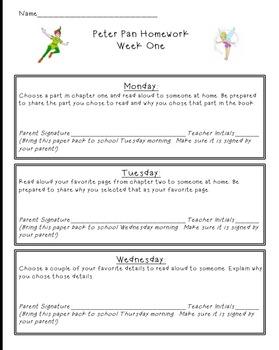 EngageNY Peter Pan Module 3 Homework Weeks 1-5