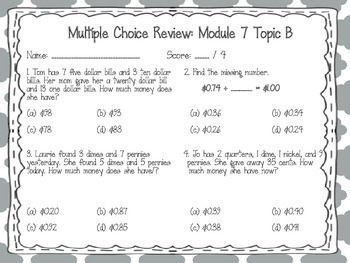 EngageNY 2015 Second Grade Math Module Seven Review Pack and Game