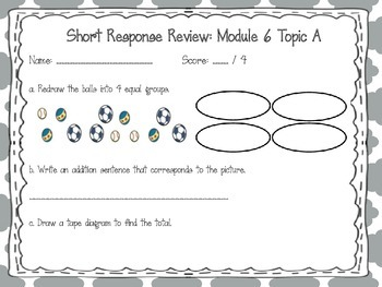 EngageNY 2015 Second Grade Math Module Six Review Pack and Game