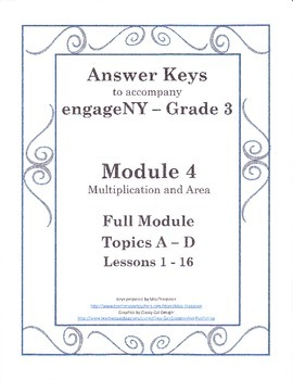 EngageNY Third Grade Module 4 - Answer Keys (FULL MODULE)