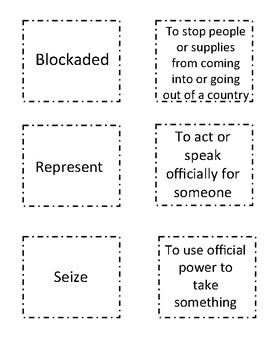 EngageNY Vocabulary Matching Game Domain 5 The War of 1812 (2nd Grade)