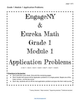 EngageNY and Eureka Math Grade 1 Application Problems for ALL MODULES