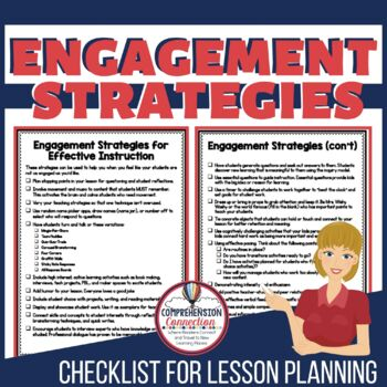 This free checklist of instructional strategies will help increase student engagement and discussion in your classroom. Download, print, and keep with your planning notebook as a reminder