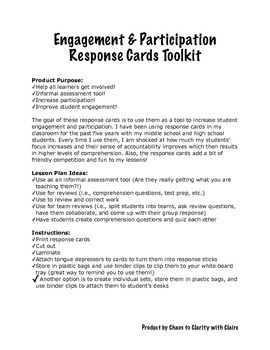 Engagement and Participation Response Cards Letters A-F & Numbers 1-10