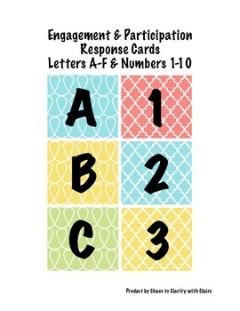 Engagement and Participation Response Cards Letters A-F &
