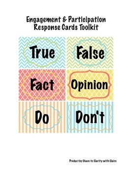 Engagement and Participation Response Cards Toolkit