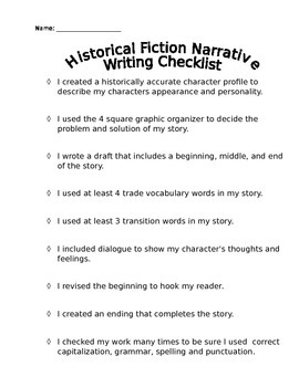 Engageny Expeditionary Learning Historical Fiction Writing Checklist