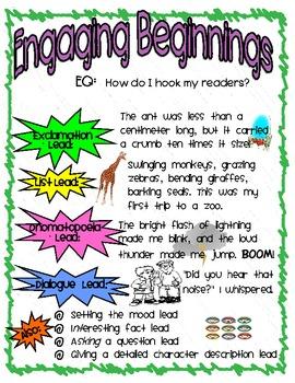 Engaging Beginnings Anchor Chart & Mini Lesson