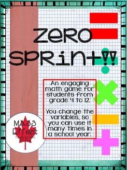 Cool Math games Fun Grade 4 to 12  Zero Sprint