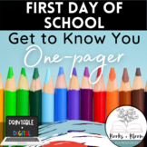 Engaging Digital First Day of School One-Pager Activity -