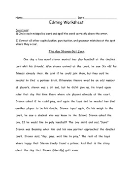 Engaging Editing Worksheets