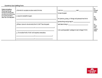 Engaging Goal Setting Form