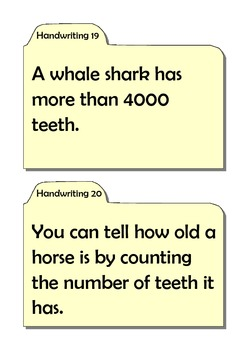 Engaging Handwriting Cards - Fun and Interesting Animal Facts