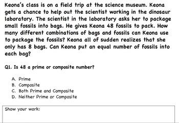Common Core Math Activity- Prime Vs Composite Numbers-4.OA.B.4