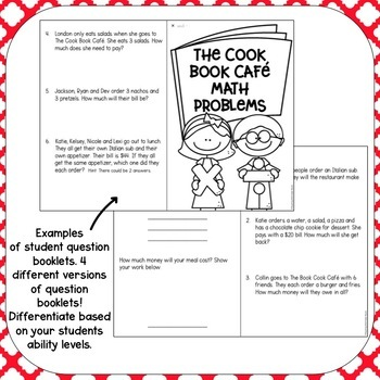 differentiated restaurant math by teaching with katie nicole tpt