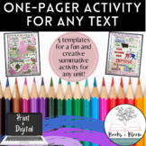 Print and Digital Engaging One-Pager Activity for ANY Text