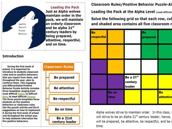 Engaging Puzzle Activities to Teach Positive Behaviors or Classroom Rules