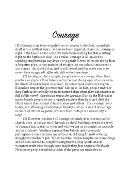 Engaging Readings with Evidence Based Questions, #6: Courage