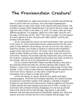 Engaging Readings with Evidence-Based Questions, #9: The Frankenstein Creature