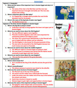 Ancient Egypt Video Guided Worksheet: Answer sheet included