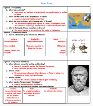 Ancient Greece Video Guided Worksheet: Answer sheet included