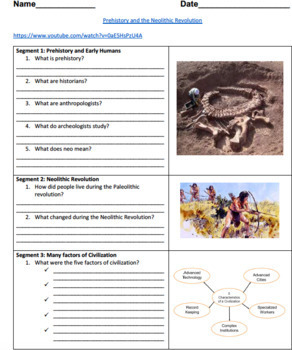 Neolithic Revolution Video Guided Worksheet: Answer sheet included