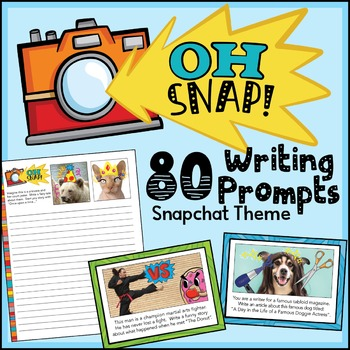 Writing Prompts w/a Snapchat Theme for 80 days (Google Docs Format & Task Cards)