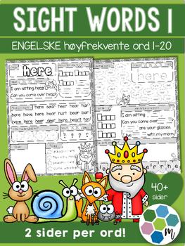 Engelsk: Sight words / høyfrektente ord - pakke 1: ord 1-20