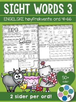 Engelsk: Sight words / høyfrektente ord - pakke 3: ord 41-66