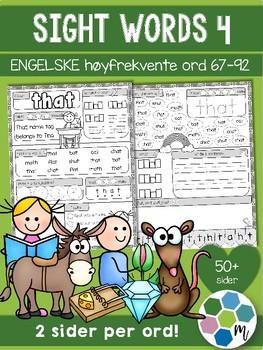 Engelsk: Sight words / høyfrektente ord - pakke 4: ord 67-92