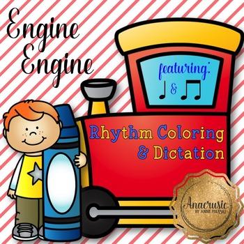 Engine Engine Coloring/Dictation Page (ta & ti-ti prep & practice)