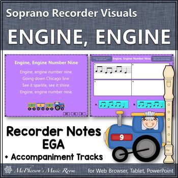 """Recorder Song """"Engine, Engine Number Nine"""" (Notes EGA) sop"""