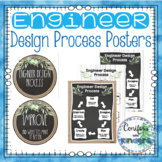 Engineer Design Posters and Chart - STEM, Burlap, Shiplap, Green Farmhouse Calm