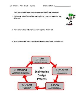 Engineer Design/Scientific Inquiry Warmup