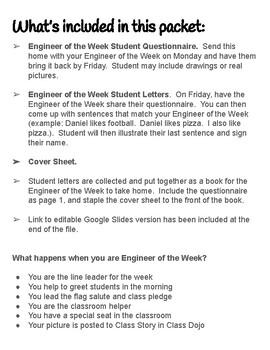 Engineer of the Week Packet (Student of the Week)