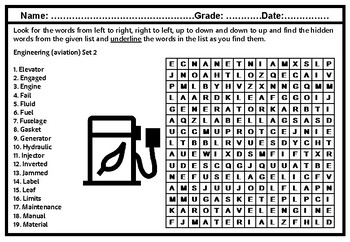 Aviation Engineering Vocabulary, Set 2, Word Search Worksheet