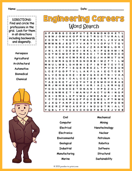Engineering Career Word Search Puzzle FUN