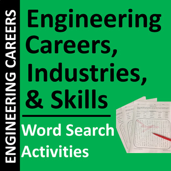 Engineering Careers, Industries, and Skills Word Search Puzzles
