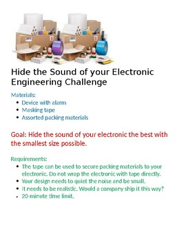 Engineering Challenge- Hide the Sound of your Electronic Engineering Challenge
