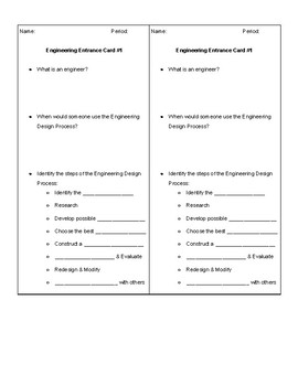 Engineering Design Entrance Card