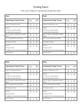 Engineering & Design Plan with Rubric for STEM Challenges {Aligns with NGSS ETS}