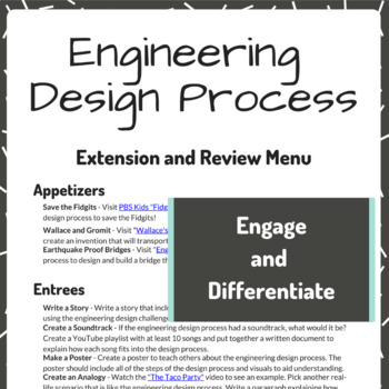 STEM Lesson - Engineering Design Process Choice Board (Review and Extension)