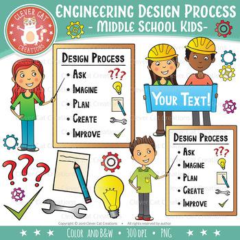 Engineering Design Process Clip Art - Middle School Kids (STEM series)