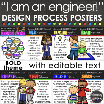 Engineering & Design Process Posters for STEM or STEAM - Bold Blocks Theme