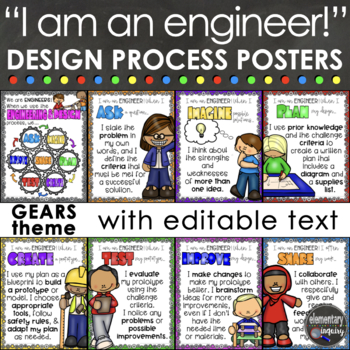 Engineering Design Process Posters For Stem Or Steam Gears Theme