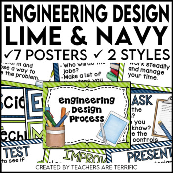 Engineering Design Process Posters in Lime and Navy