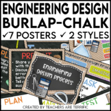 Engineering Design Process Posters in Burlap and Chalkboard