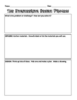 Engineering Design Process Recording Sheet By Christy Jenness Tpt