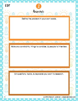 Engineering Design Process Worksheets - STEM
