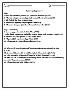 Engineering Egypt movie answer key